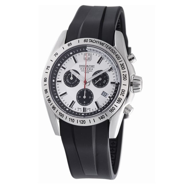 Swiss Military Stainless Steel Chronograph Black Rubber Date Watch