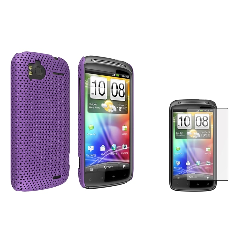 Purple Meshed Rear Case/ Screen Protector for HTC Sensation 4G