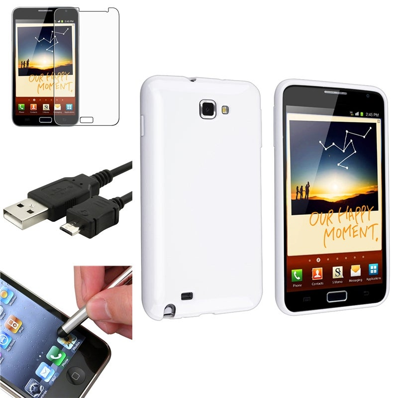 White Case/ LCD Protector/ Cable/ Stylus for Samsung Galaxy Note N7000