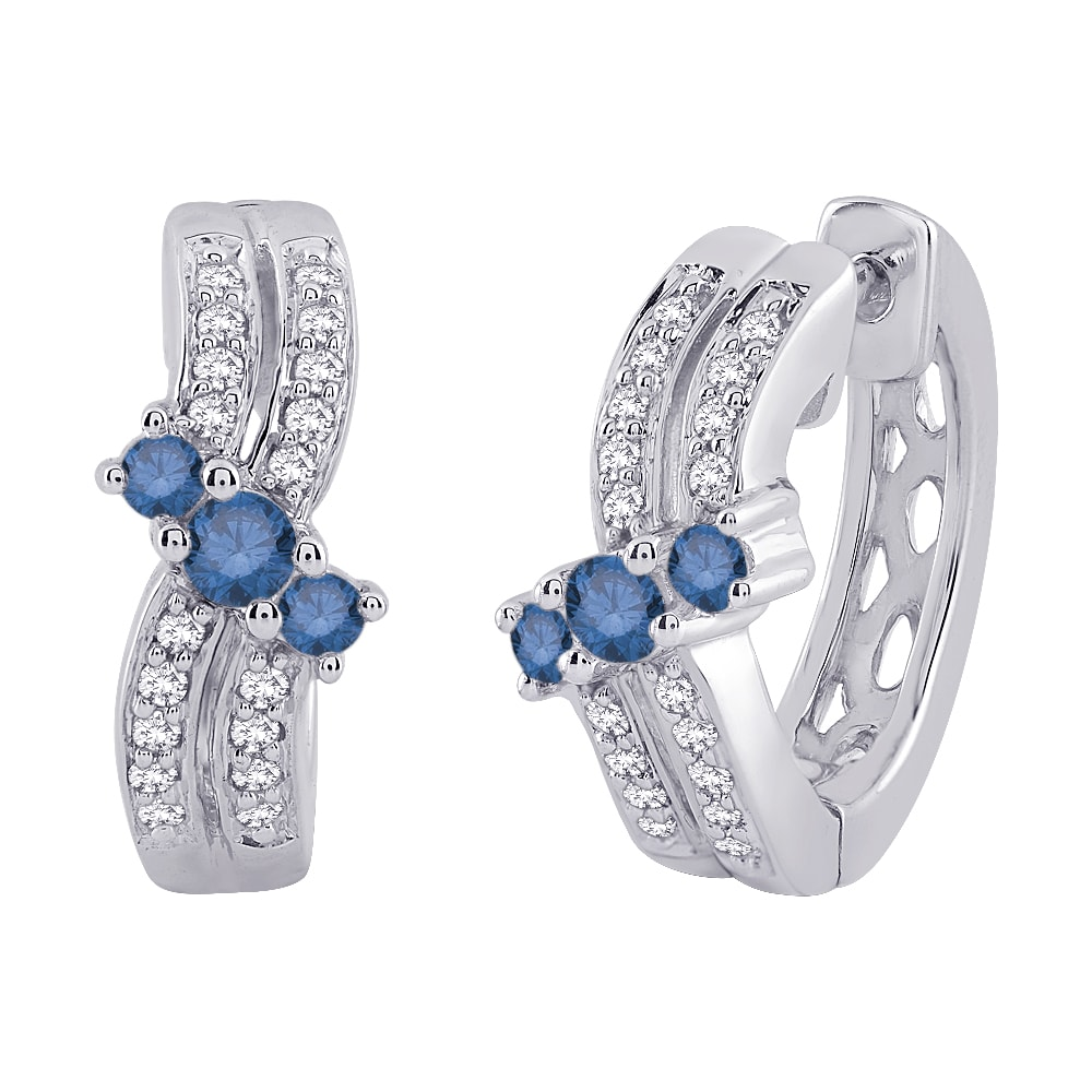 10K White Gold 1/2 TDW Blue and White Diamond Hoop Earrings (G-H, I2-I3)