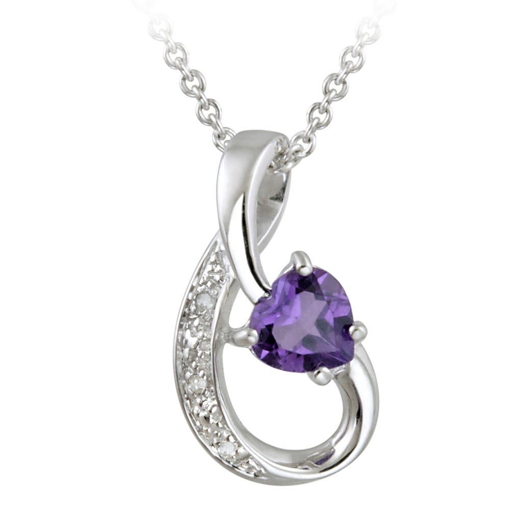 Glitzy Rocks 10k White Gold Diamond and Amethyst Ribbon Heart Necklace