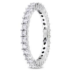 Miadora 10k White Gold 1-1/4ct TGW Created White Sapphire Eternity Ring - Thumbnail 1
