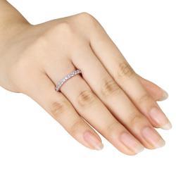Miadora 10k White Gold 1-1/4ct TGW Created White Sapphire Eternity Ring - Thumbnail 2