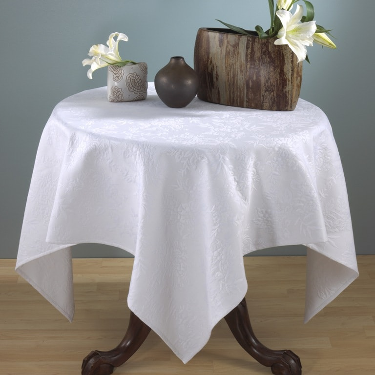 Matelasse White Table Topper