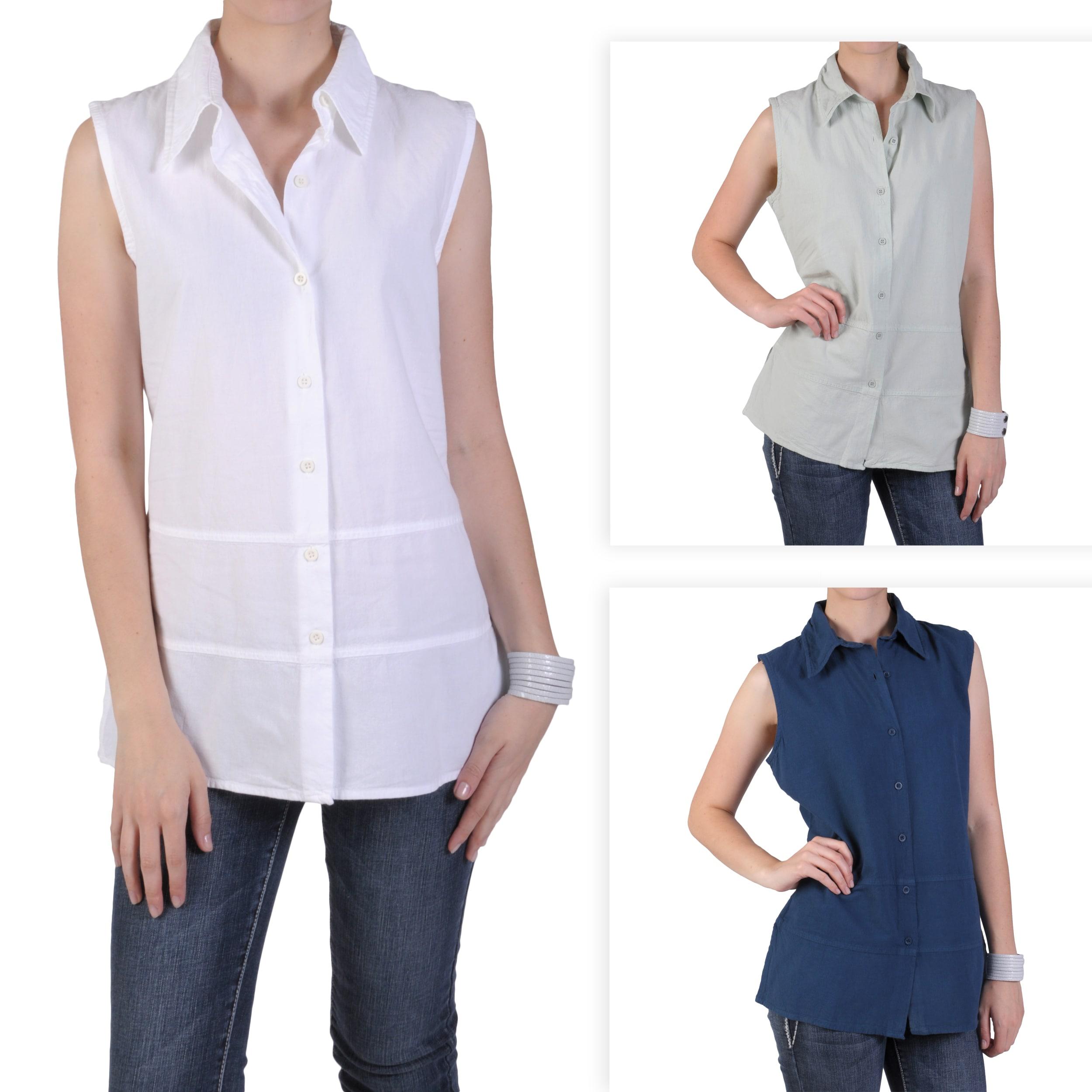 Tressa Designs Women's Pointed Collar Button-up Top