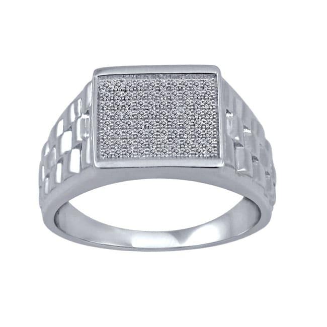 1/4 Ctw Sterling Silver Diamond Men's Ring