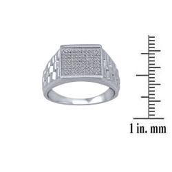 1/4 Ctw Sterling Silver Diamond Men's Ring - Thumbnail 2