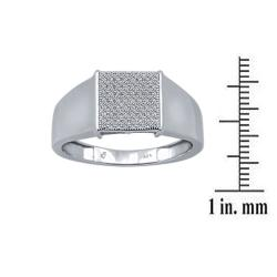 Men's Sterling Silver and 1/4 Ct Diamond Ring (9.5 mm)