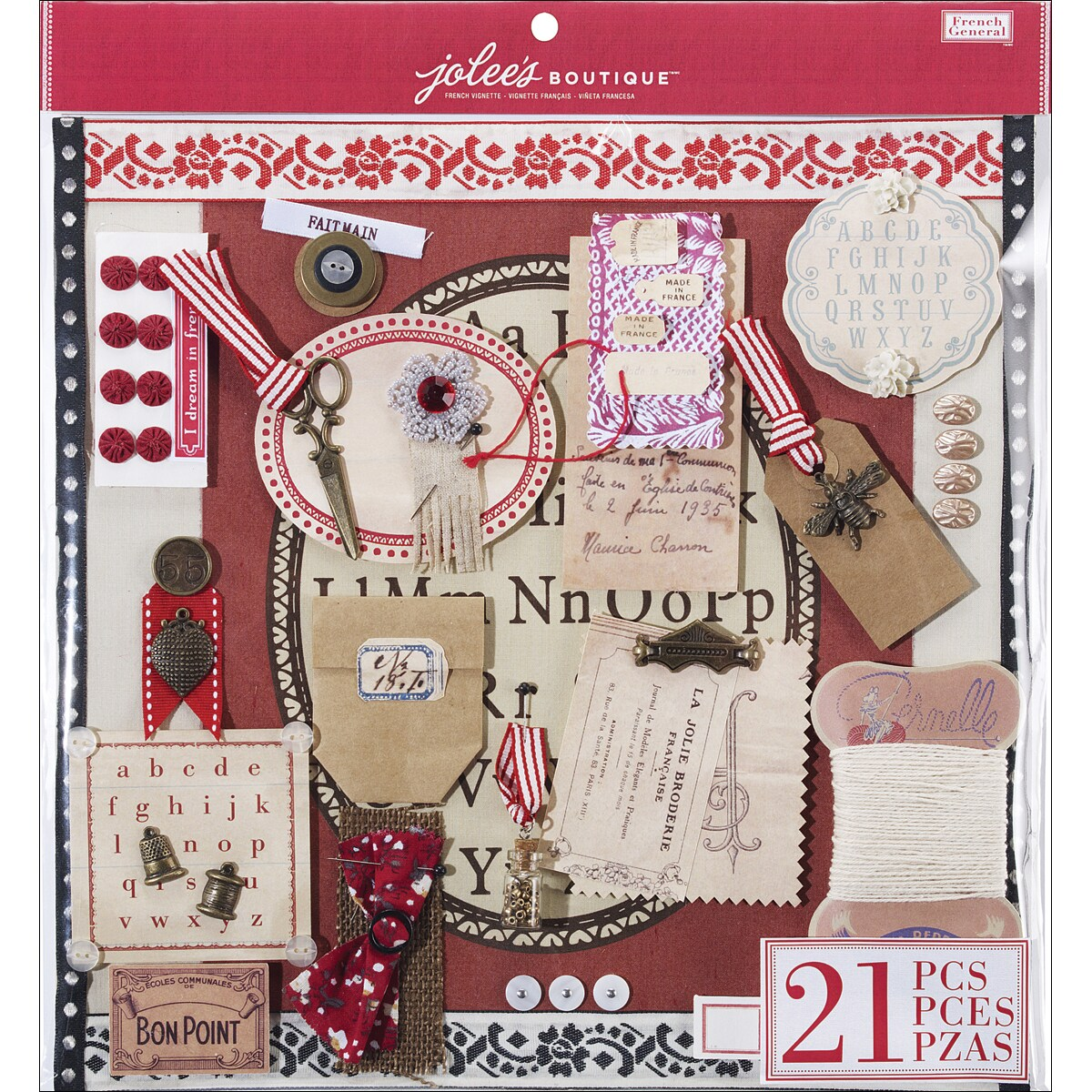 """French General Pre-Made Page 12""""X12""""-French Vignette"""