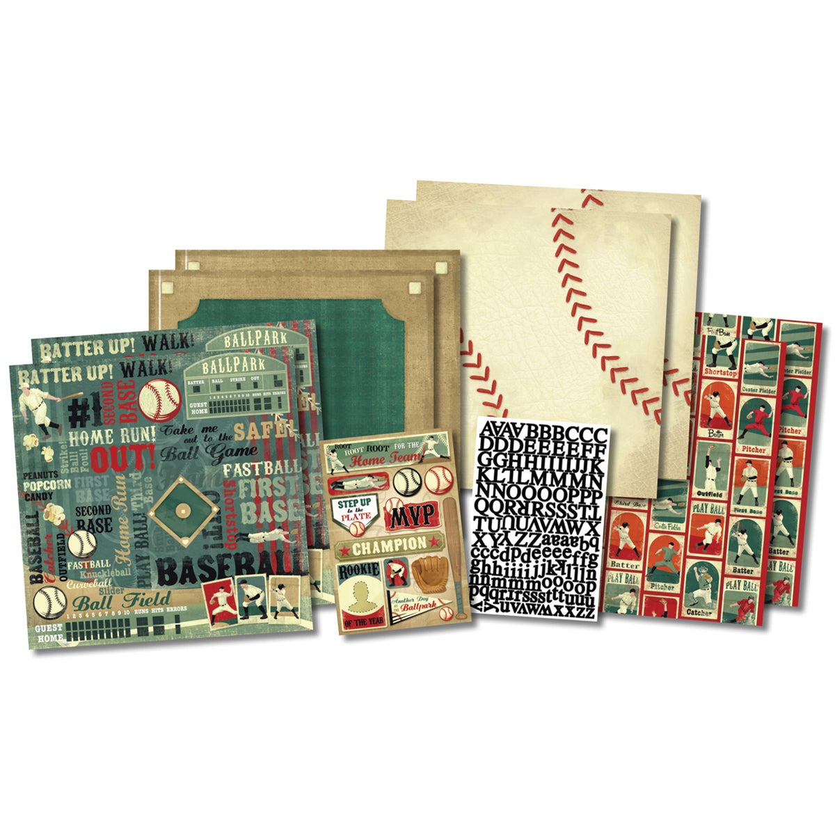 """Karen Foster Rookie Of The Year Page Kit 12""""X12""""-8 Papers, 2 Sticker Sheets"""