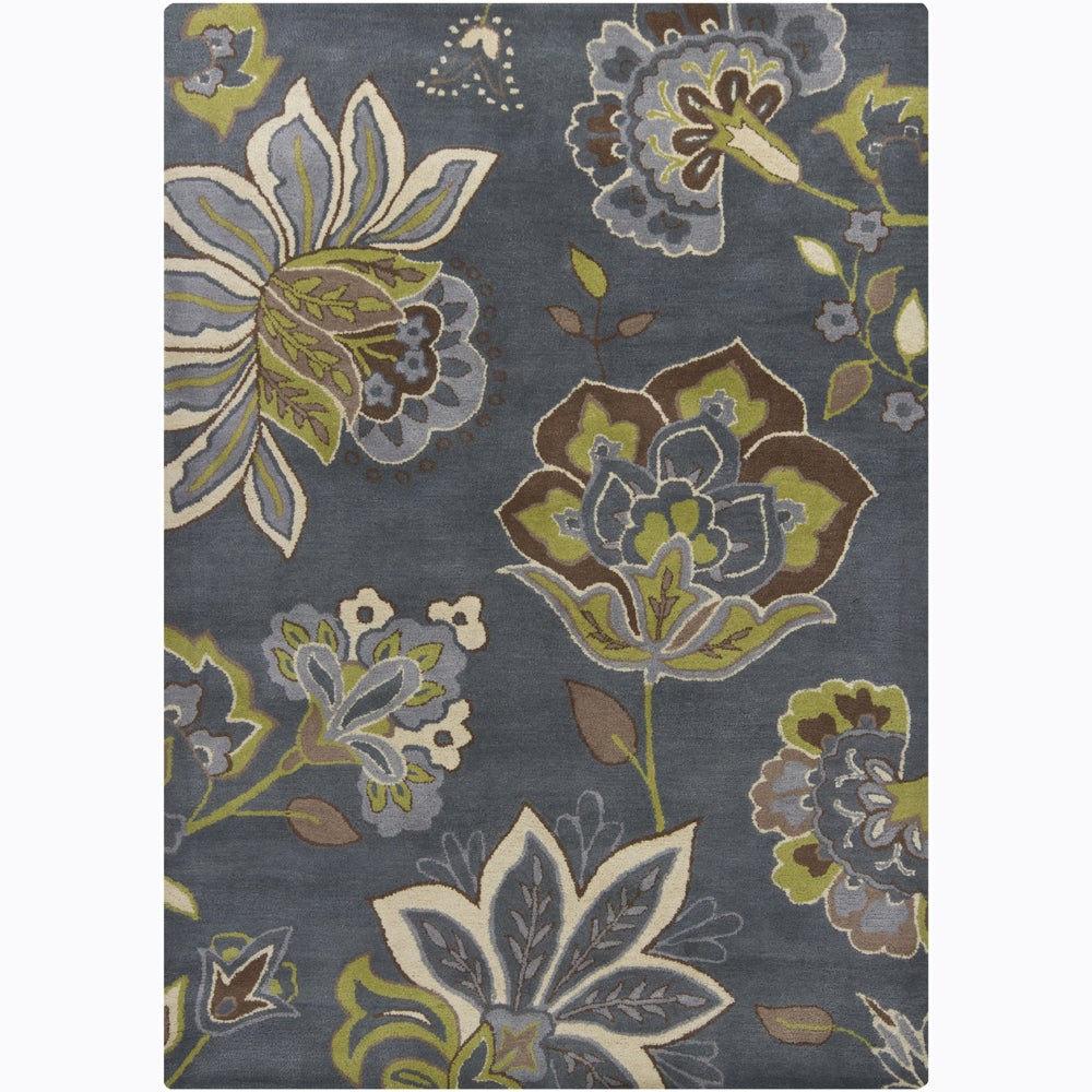 Shop Hand Tufted Mandara Grey Floral Wool Rug 7 X 10