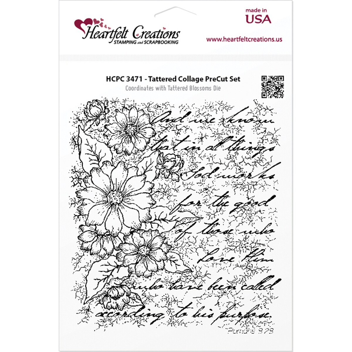 "Heartfelt Creations Cling Rubber Stamp Set 5""X6.5""-Tattered Collage"
