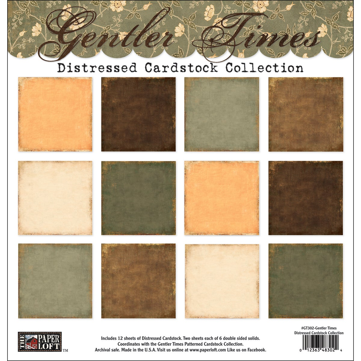 "Gentler Times Collection Pack 12""X12""-6 Double-Sided Distressed Papers/2 Each"