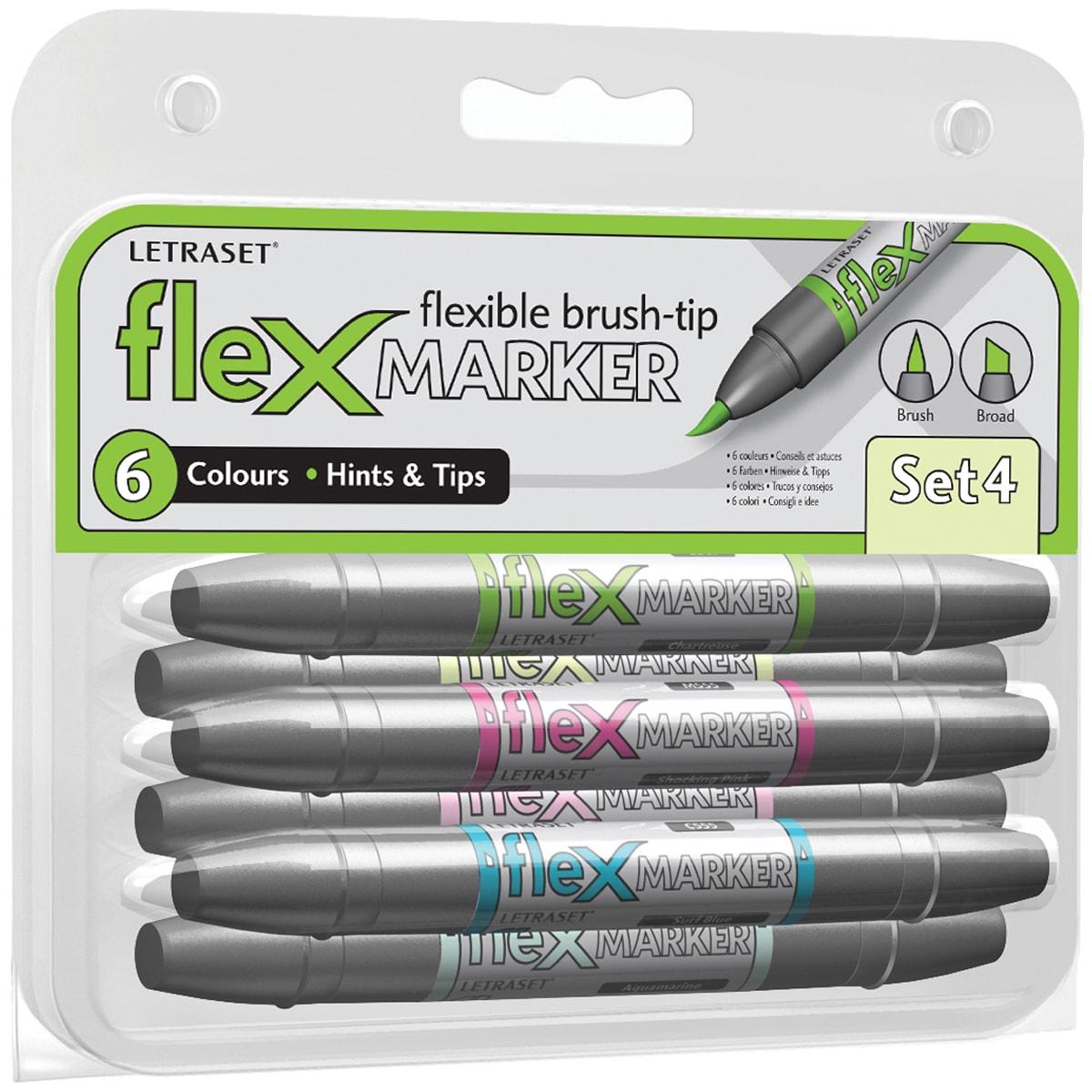 Letraset FlexMarker 6 Piece Set-Set 4