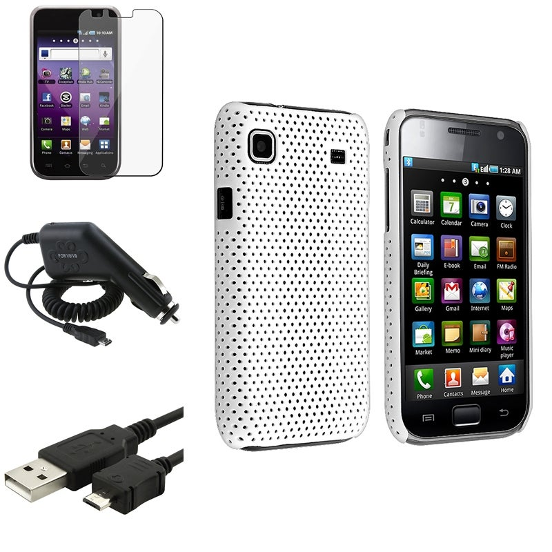 White Case/ LCD Protector/ USB Cable/ Charger for Samsung Galaxy S 4G