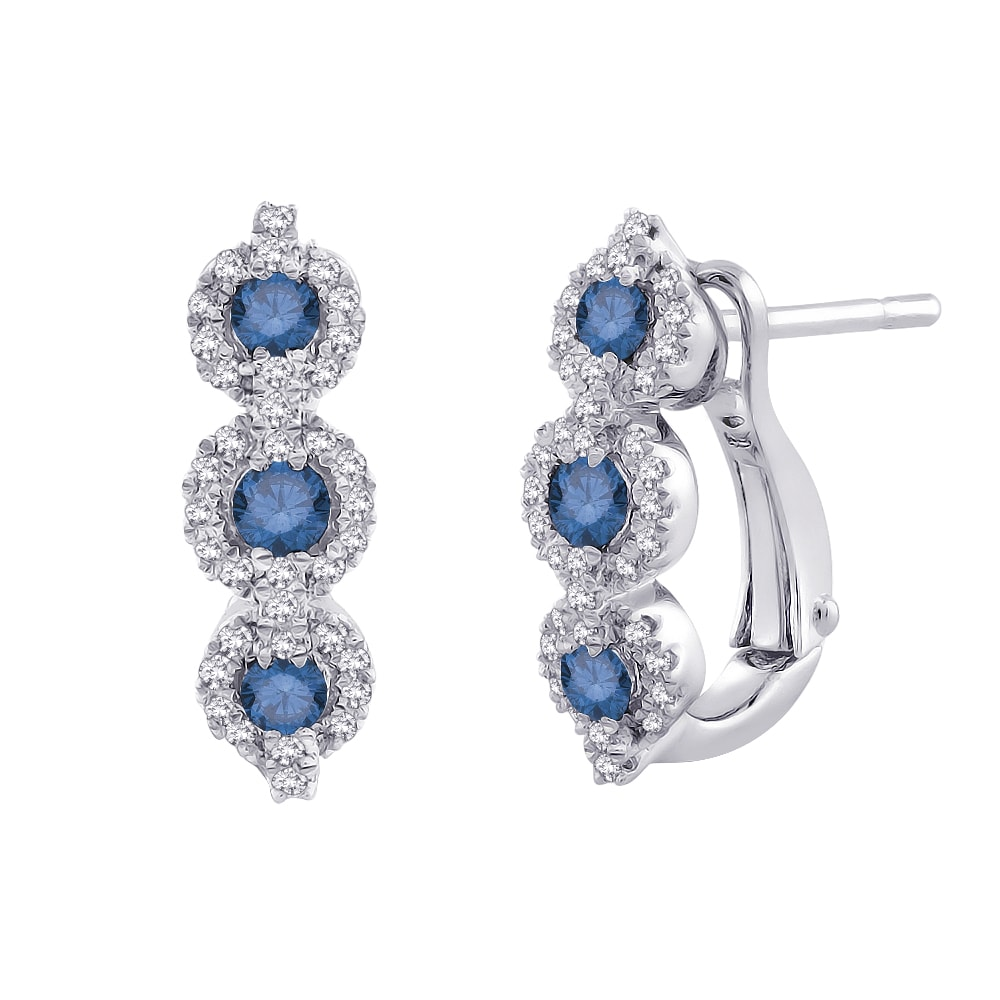 10K White Gold  1/2 TDW Blue & White Diamond Leverback Earring (G-H, I2-I3)
