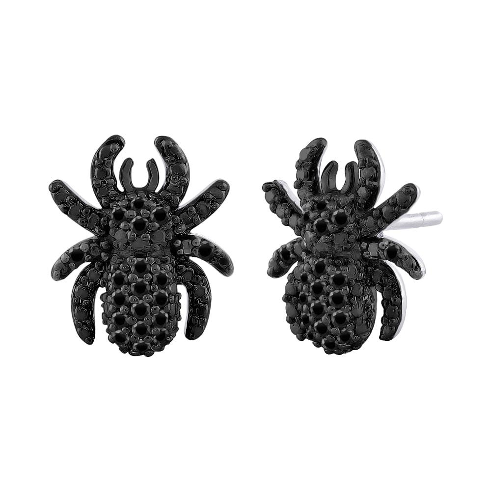 Sterling Silver 1/5ct TDW Black Diamond Spider Earrings (Black)