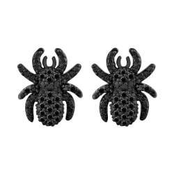 Sterling Silver 1/5ct TDW Black Diamond Spider Earrings (Black) - Thumbnail 1