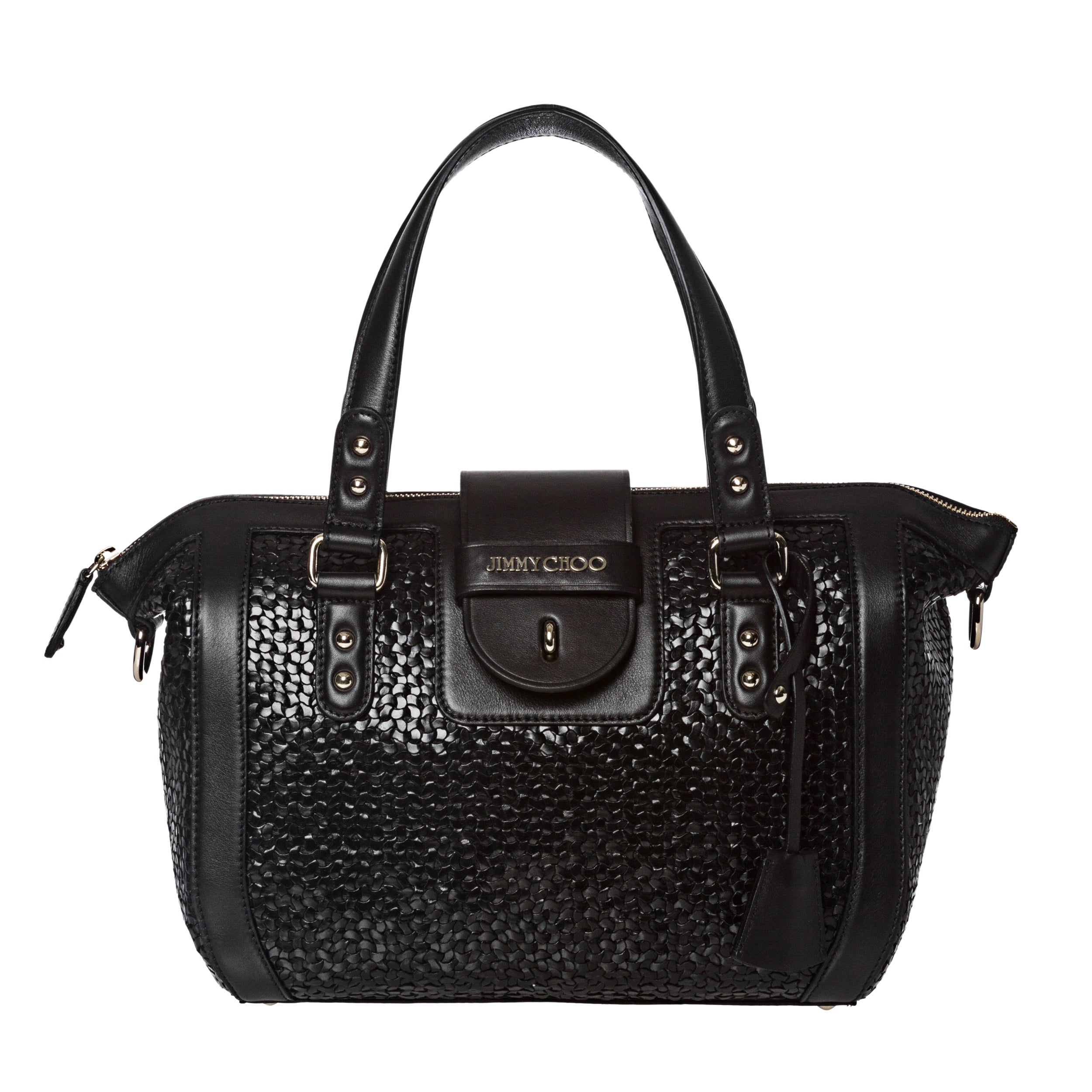 Jimmy Choo Small Black Woven Leather Tote Bag