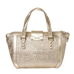 Jimmy Choo Small Gold Woven Leather Tote Bag - Thumbnail 2