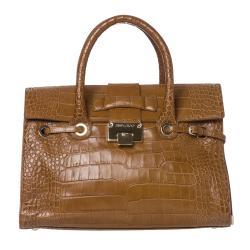 Jimmy Choo 'Rosalie' Croc-stamped Brown Leather Satchel