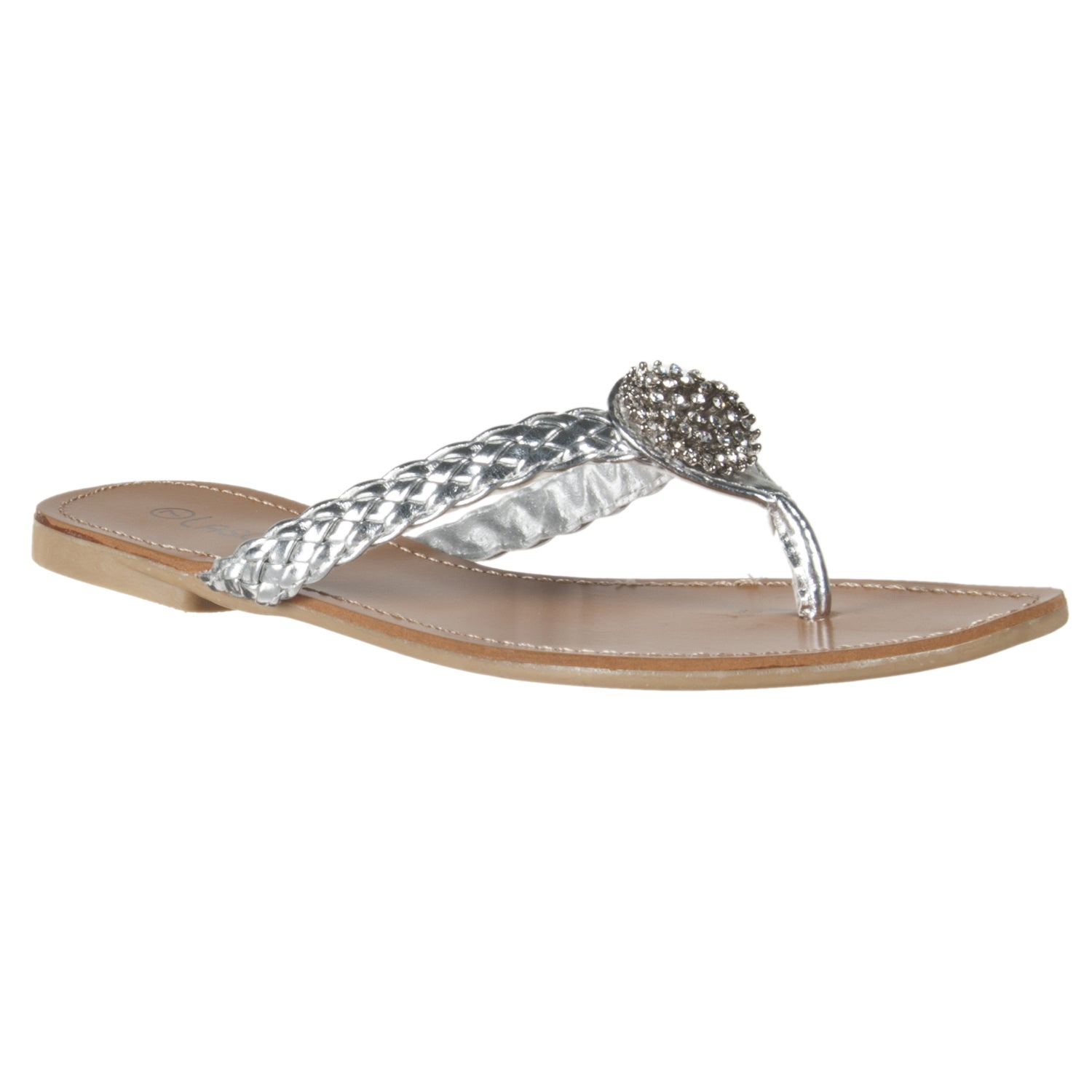 Riverberry Women's Silver Rhinestone Thongs