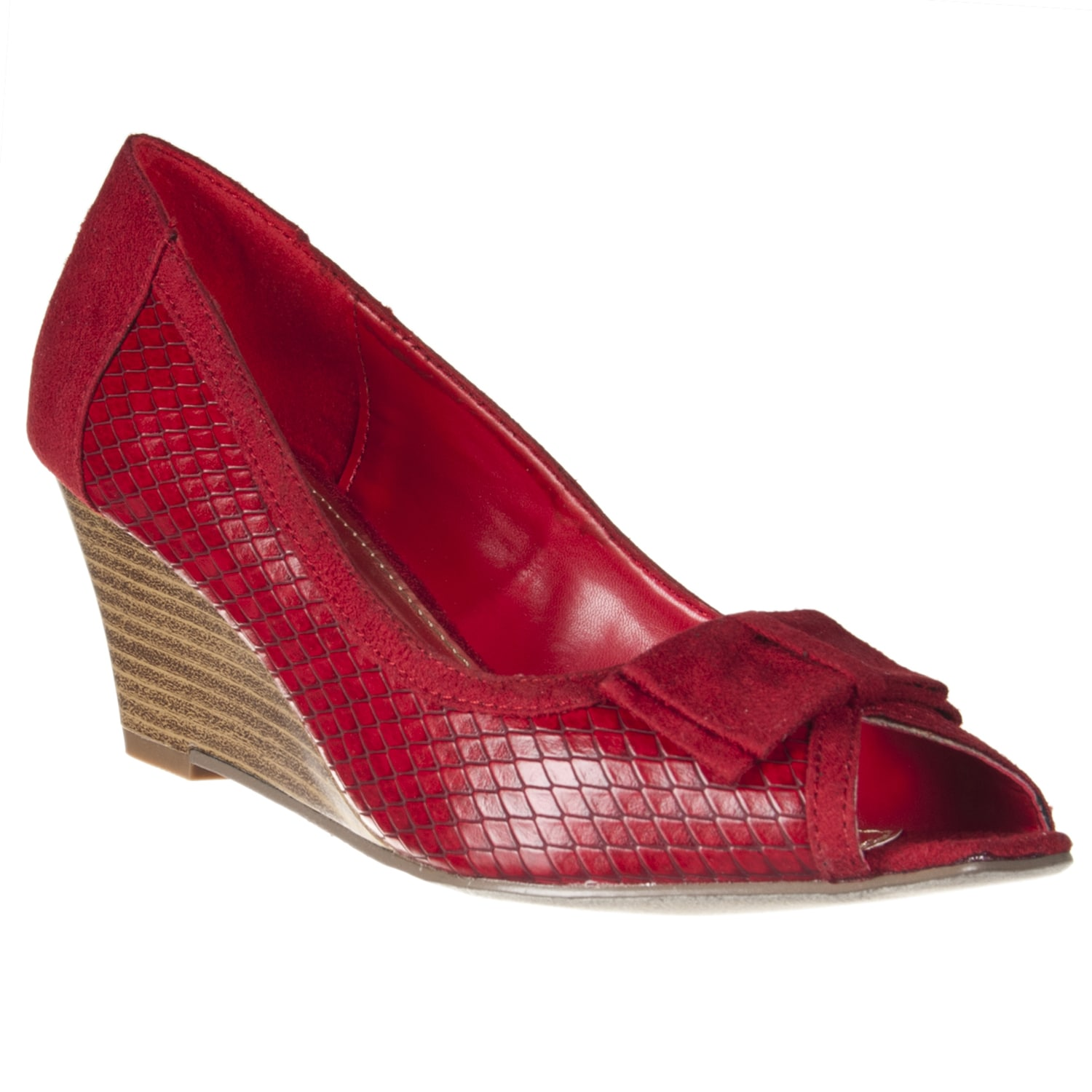 Riverberry Women's 'Tyler' Red Peep Toe Wedges