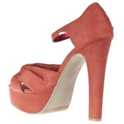 Riverberry Women's 'Sabine' Coral Faux Suede Peep Toes - Thumbnail 1