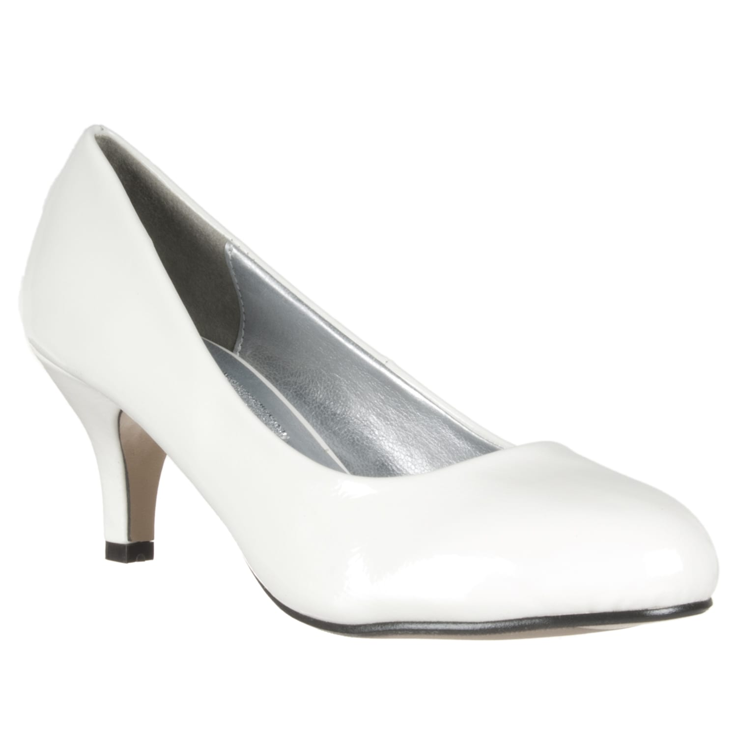 Riverberry Women&39s White Patent Mid-Heel Pumps - Free Shipping On