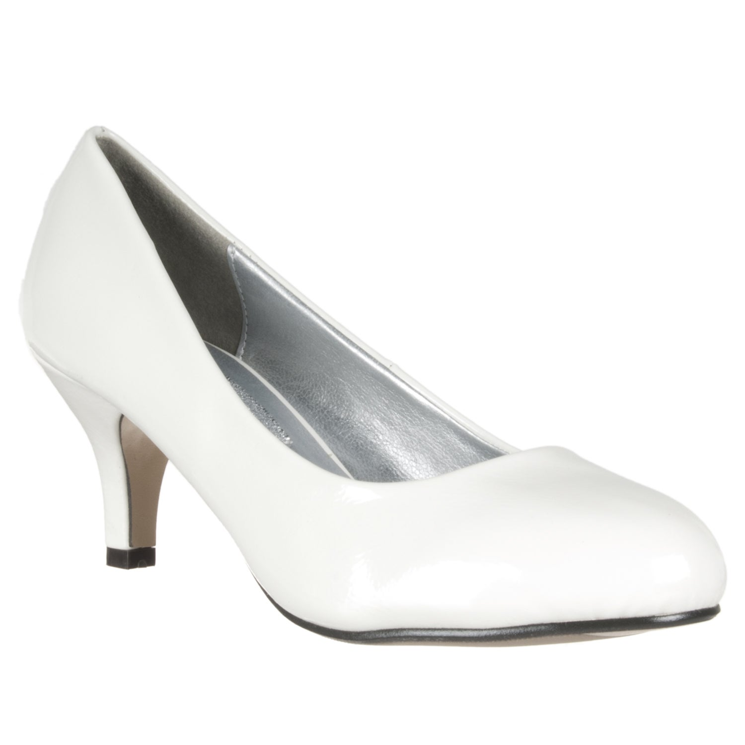Riverberry Women's White Patent Mid-Heel Pumps - Free Shipping On ...