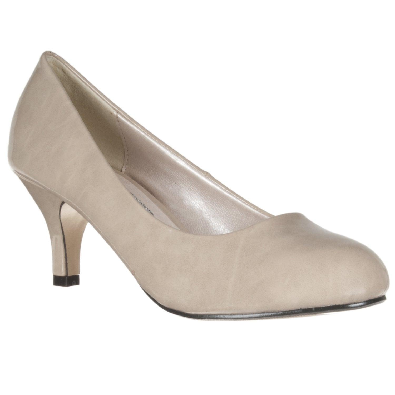 Riverberry Women's Beige Patent Mid-Heel Pumps