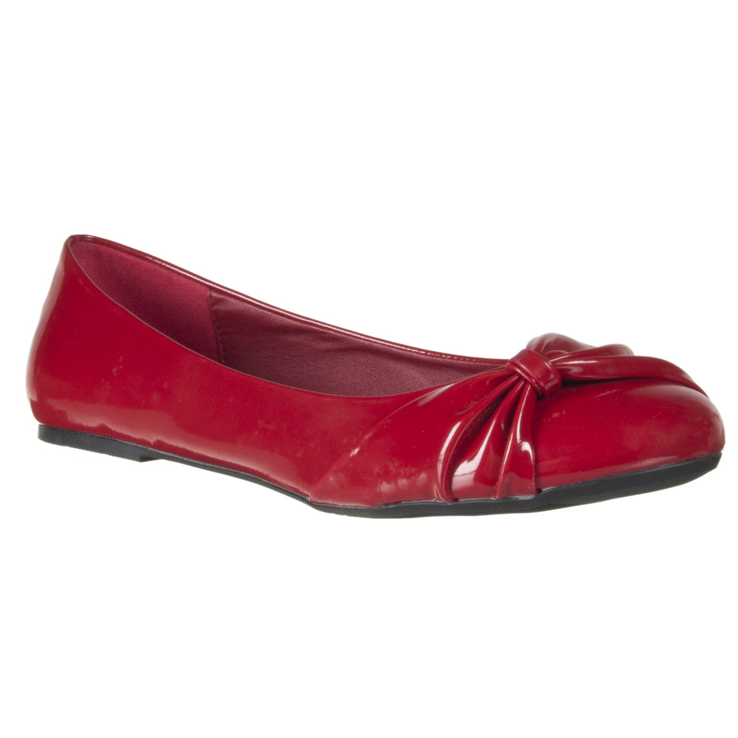Riverberry Women's Red Bow-detail Ballet Flats - Thumbnail 0