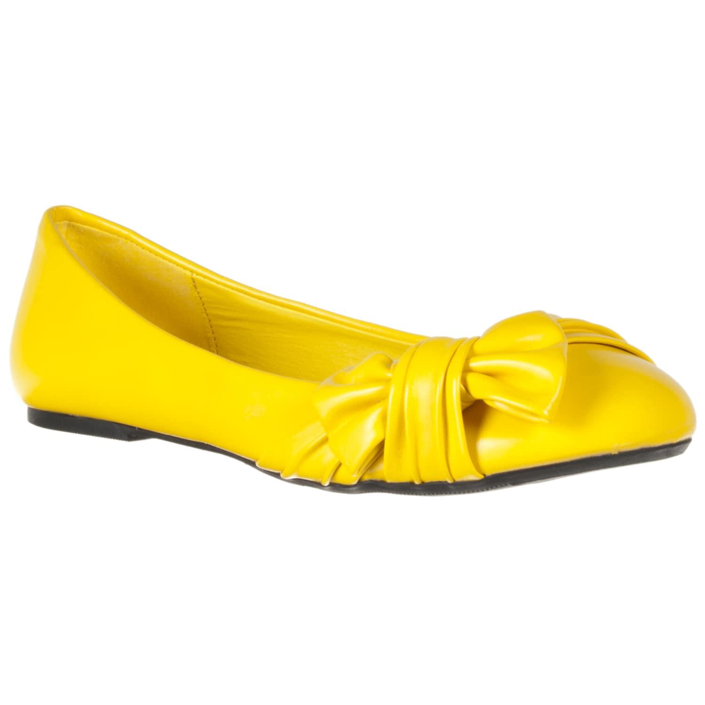 Riverberry Women's Yellow Knot-detail Ballet Flats