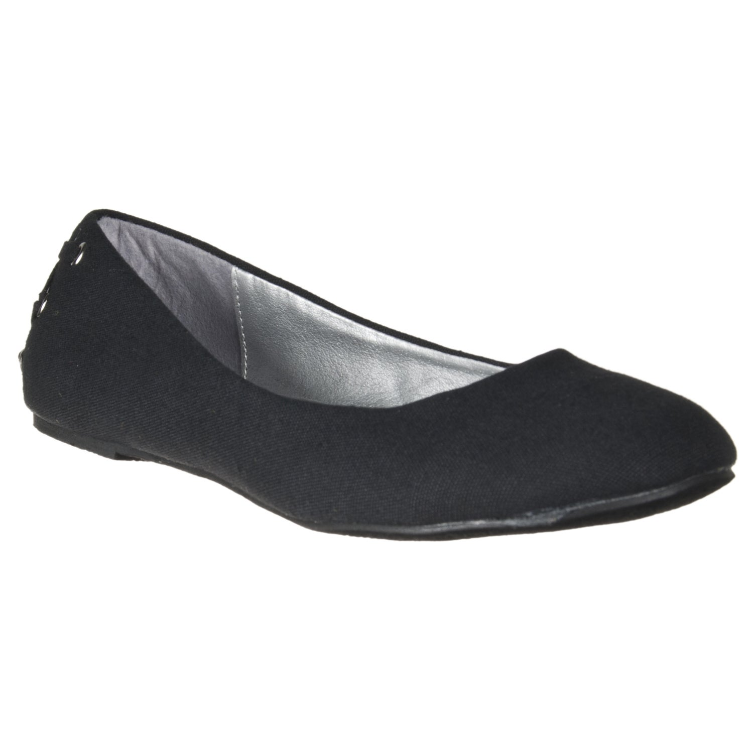 Riverberry Women's Black Canvas Lace-back Flats