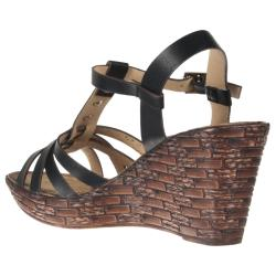 Riverberry Women's 'Brody' Black Wedge T-strap Sandals - Thumbnail 1