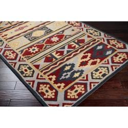 Dick Idol Hand-tufted Red/Blue Southwestern Aztec Haines Wool Rug (2' x 3')