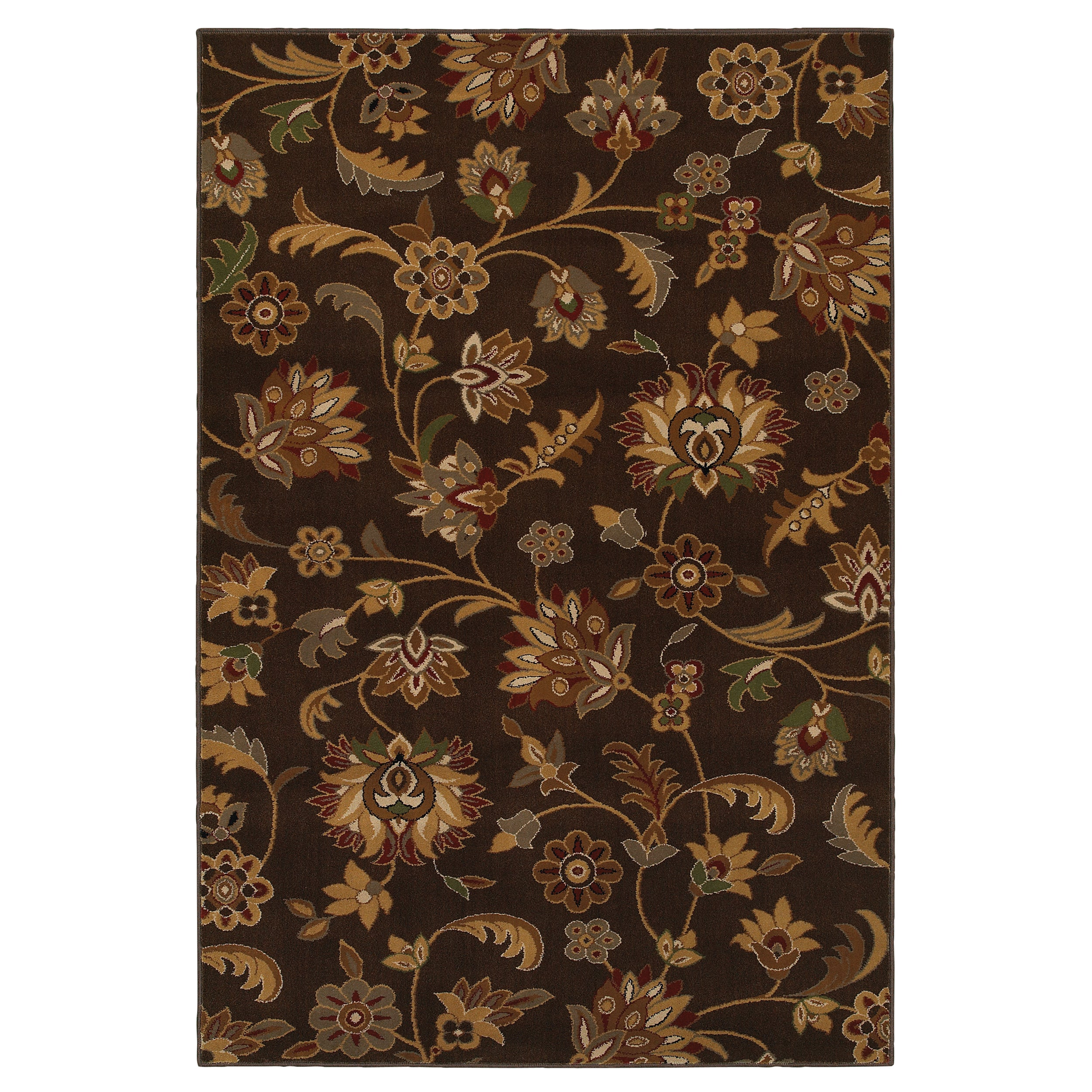 Concord Brown Floral Rug (3'4 x 5')
