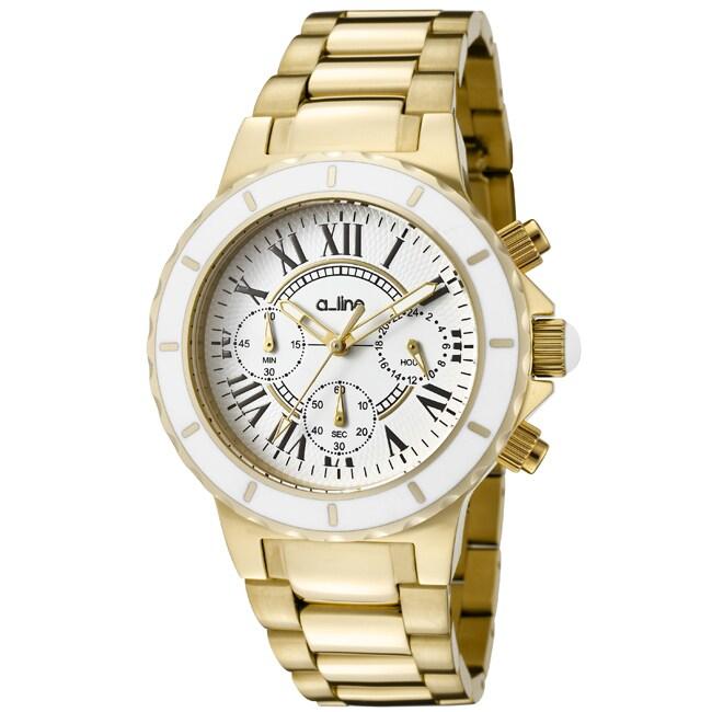 A Line Women's AL-20106DV Marina Chronograph White Textured Dial Silvertone Watch