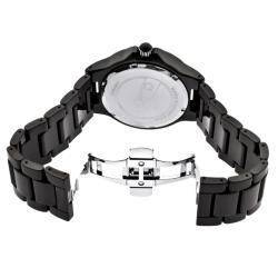Women's 'Marina' Black Textured Dial Black Ceramic Watch