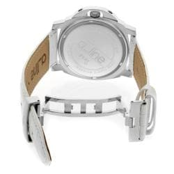 Women's 'Pyar' Silver Textured Dial White Leather Watch