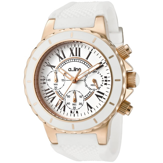 Women's 'Marina' Chronograph White Textured Dial White Watch