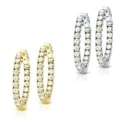 14k Gold 5-1/4ct TDW Diamond Hoop Earrings (J-K, I1-I2)