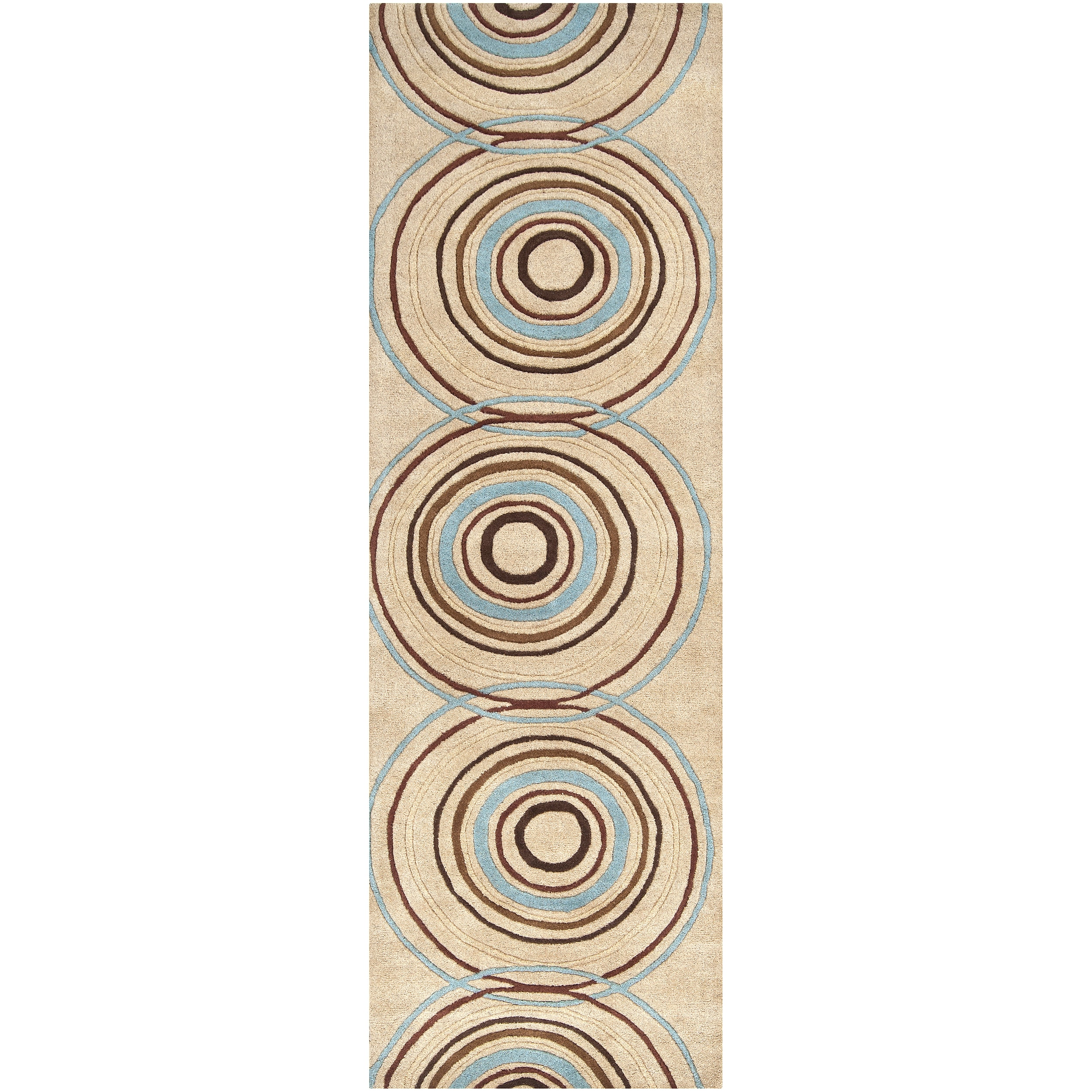 Hand-tufted Beige Contemporary Circles Anatoly Wool Geometric Rug (3' x 12')