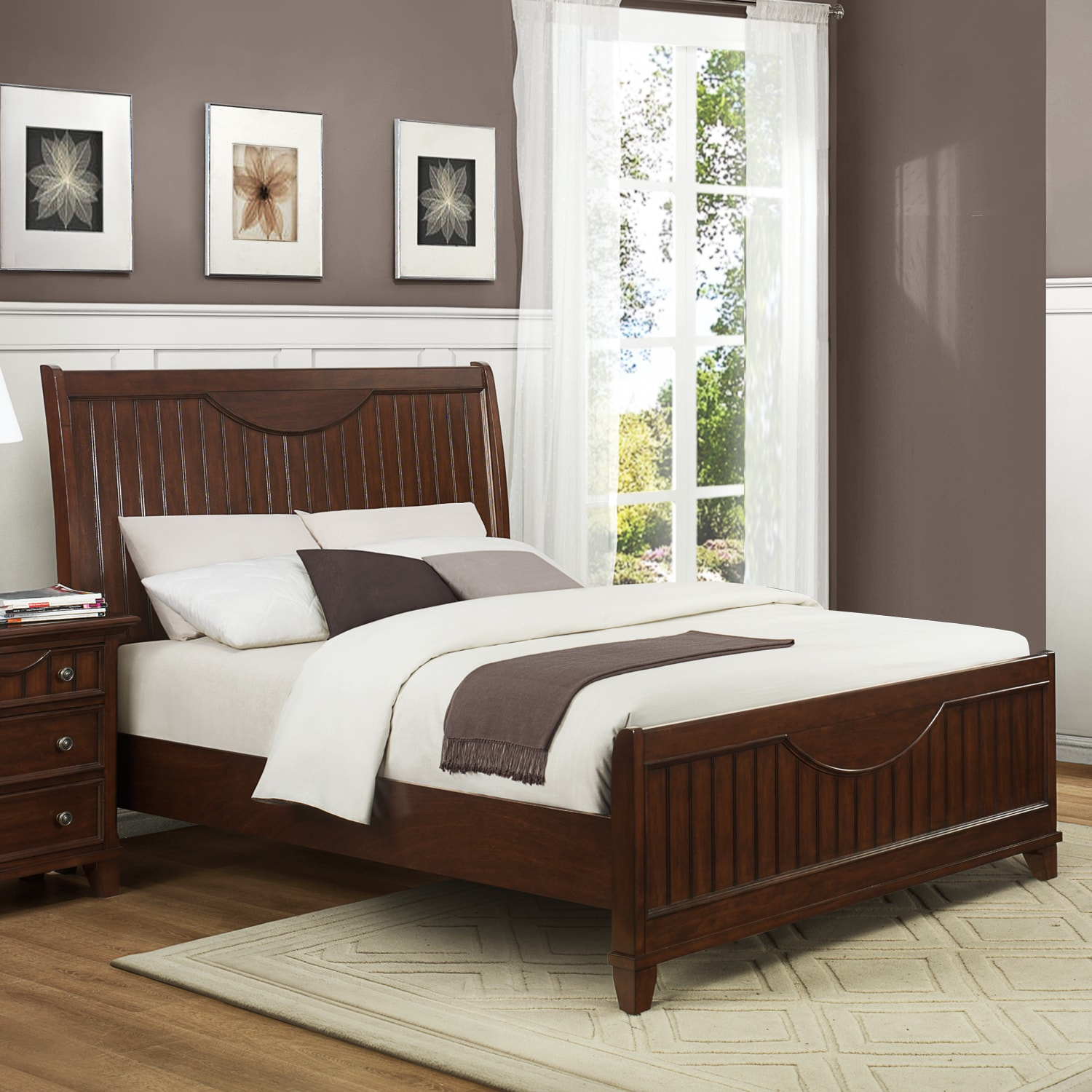 Alderson Warm Cherry Brown Cottage King-size Bed - Thumbnail 0