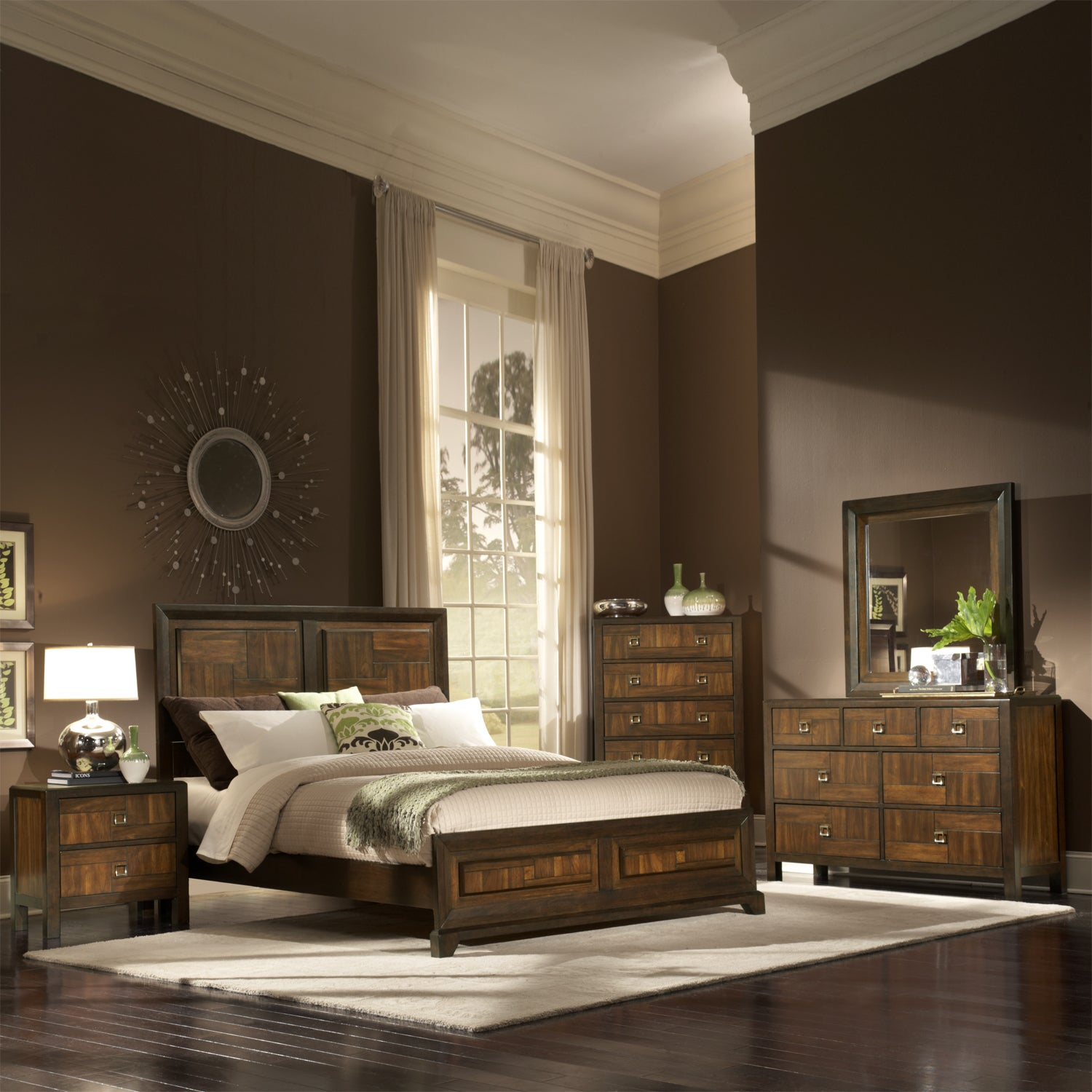 birken asymmetric walnut retro 5 piece queen size bedroom