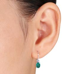 Miadora Sterling Silver 2-5/8ct TGW Created Emerald and White Sapphire Leverback Earrings - Thumbnail 2