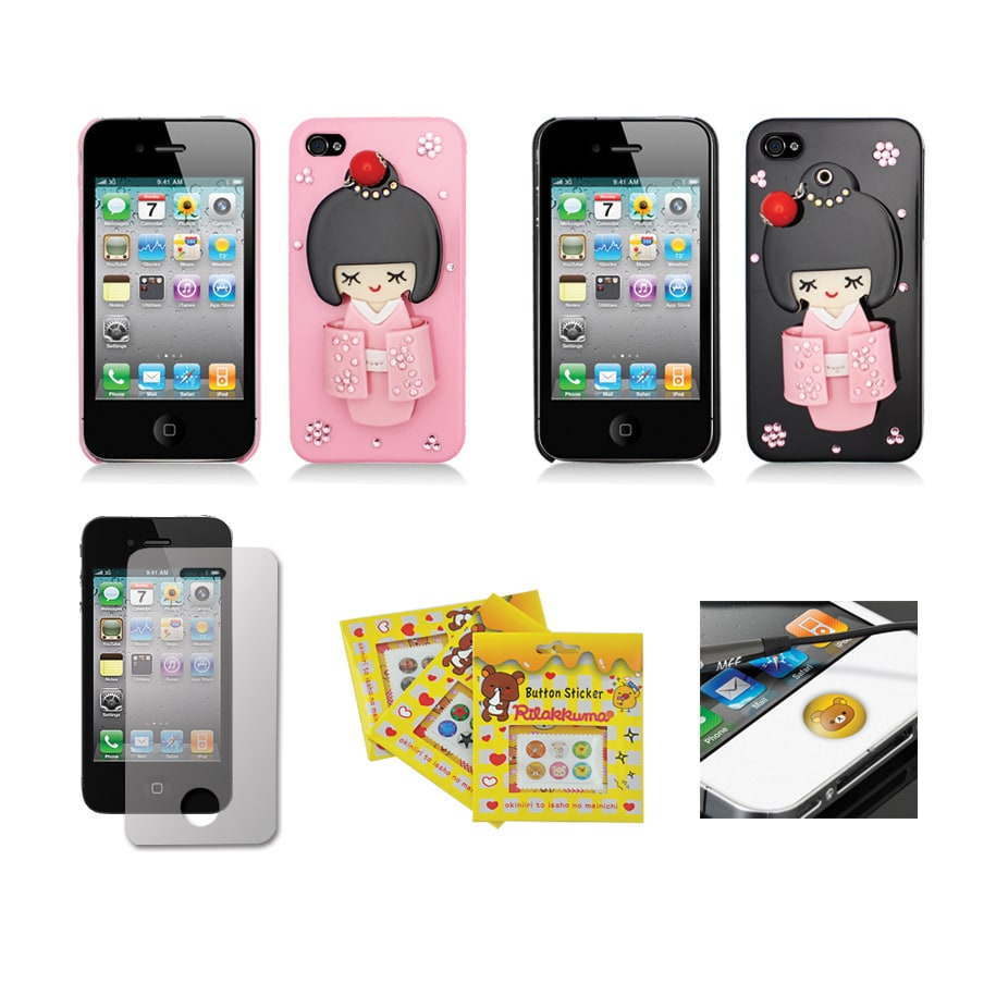 Apple iPhone 4/4S Sparkling Kimono Girl Compact Mirror Designer Case
