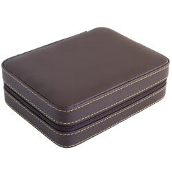Caddy Bay Collection Brown Soft Leatherette Compact Travel Two-Watch Case