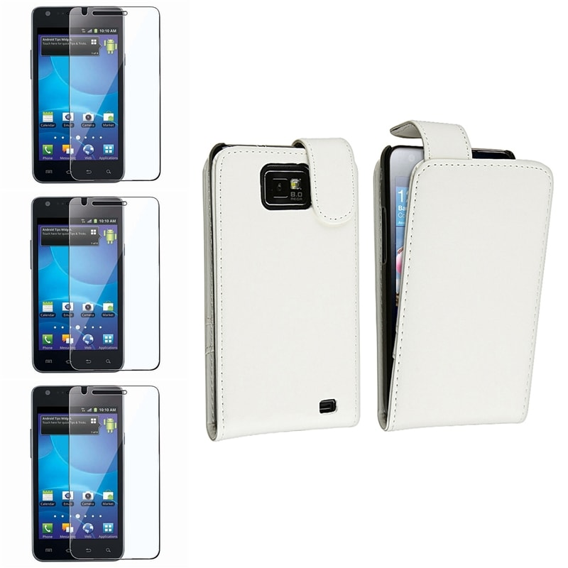 White Leather Case/ LCD Protectors for Samsung Galaxy S II AT&T i777