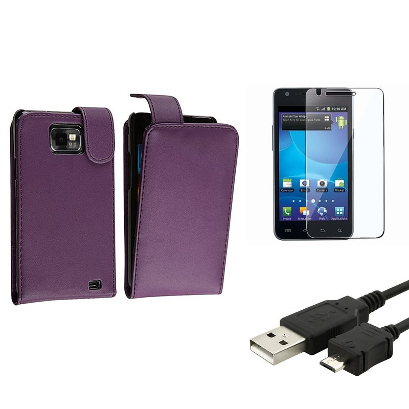 Leather Case/ LCD Protector/ Cable for Samsung Galaxy S II AT&T i777